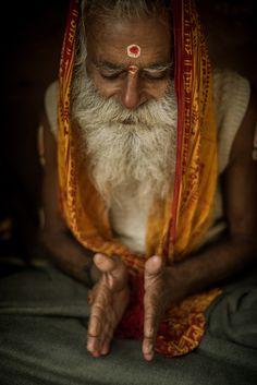 A sadhu praying in Meer Ghat, Varanasi