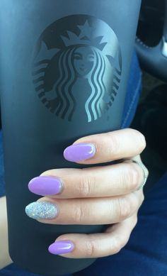 Lavender Almond acrylic nails