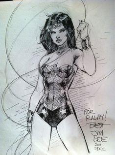 Wonder Woman sketch by Jim Lee Comic Book Artists, Comic Book Characters, Comic Artist, Comic Character, Comic Books Art, Batman Drawing, Drawing Superheroes, Comics Girls, Dc Comics