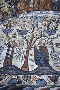 Biserica de lemn din Deseşti, judeţul Maramureş - Arborele patriarhilor din viaţa lui Avraam (detaliu) Religious Paintings, Orthodox Christianity, Popular Art, Icons, Symbols, Ikon
