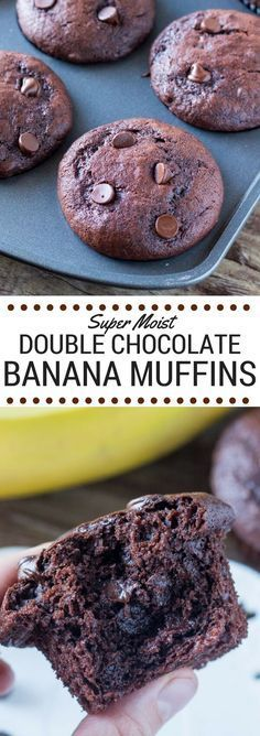 These Double Chocolate Banana Muffins are super moist with big banana bread flavor and a double dose of chocolate. Super easy & so decadent