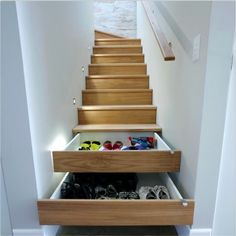 Staircase as DIY shoe storage cabinets (great storage idea!)
