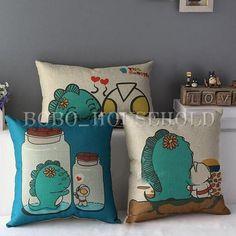Cotton Linen Cartoon Monster Ultraman Throw Pillow Case Cushion Cover Decorative