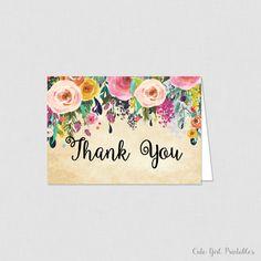 Printable Floral Bridal Shower Thank You Card - Bridal Shower Thank You Card - Floral Bridal Shower - Cream Floral 0001C