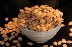 Try this recipe for roasted pumpkin seeds for a healthy and tasty Fall snack!