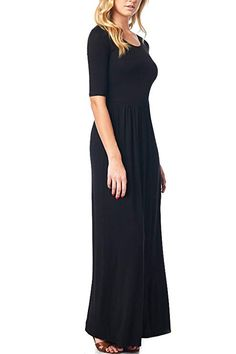 82 Days WomenS Rayon Span Jersey Maxi Long Dress with Elastic Waistband - Solid Womens Clothing Stores, Online Clothing Stores, Clothes For Women, Women's Clothing, Nice Dresses, Dresses For Work, Plain Dress, Clubwear, Casual