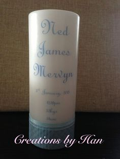 Personalised birth details candle