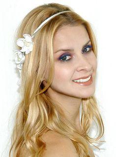 acessório de cabelo para noiva com 6 mine flores em cetim e cordão de seda,
