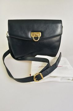 de09fd2c0bec SALVATORE FERRAGAMO Navy Blue leather crossbody   shoulder vintage bag