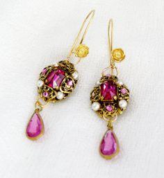 Vintage Bridal Czech Pink Pearl Filigree Earrings by WillowBloom, $78.00