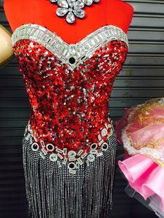 Dress Cabaret Showgirl Vegas Costume Feather Gown Vavavoom Dancer Show New Red #Unbranded #Skirt