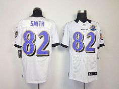 Nike Ravens #82 Torrey Smith White With Hall of Fame 50th Patch Men's Embroidered NFL Elite Jersey! Only $26.00USD