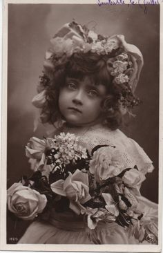 Stunning girl, antique photo girl, floral bonnet, white lace dress, cute girl, vintage beauty, sepia portrait, real photo girl  (rppc/ch392)