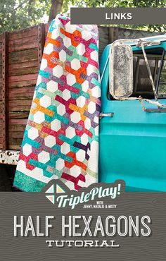 The Doan Girls are back with the latest Triple Play featuring our Half Hexagon template! This simple notion is so handy, they even stitched up a bonus project in addition to three new, unique designs including the Links quilt! Follow the link below to watch this incredible Triple Play Tutorial! #MissouriStarQuiltCo #MSQC #Quilting #Quilts #TriplePlay #HexagonQuilt #HalfHexagon #LinksQuilt #HowToQuilt #Sewing #EasyCraftProjects #FabricCrafts #QuiltPatterns #QuiltingTutorial Missouri Star Quilt Tutorials, Quilting Tutorials, Quilting Ideas, Hexagon Quilt Pattern, Quilt Patterns, Missouri Quilt, Fabric Pen, Easy Craft Projects, Fabric Crafts