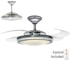 """HUNTER 48"""" MODERN BRUSHED NICKEL RETRACTABLE BLADE REMOTE Ceiling Fan #Hunter #Contemporary"""