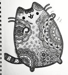 Pusheen inspired zentangle and mandalas