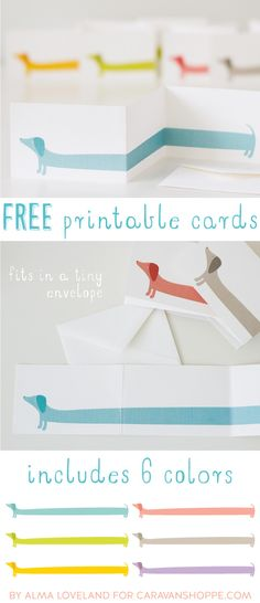 Free Printable: darling dachshund Z-fold note cards Free Printable Cards, Free Printables, Free Cards, Imprimibles Baby Shower, How To Fold Notes, Karten Diy, Dog Cards, Envelopes, Cardmaking