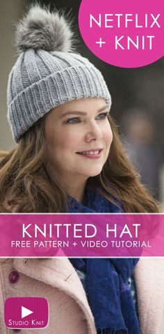 How to Knit a Hat Inspired by Gilmore Girls Easy Ribbed Knitted Hat Cap Beanie with Pom Pom PomPom Includes Free Knitting Pattern Video Tutorial studioknit knittedhatpattern howtoknitahat knittingvideo Beanie Knitting Patterns Free, Beanie Pattern Free, Free Knitting, Free Pattern, Gilmore Girls, Easy Knit Hat, Knitted Hats, Crochet Hats, How To Knit A Hat