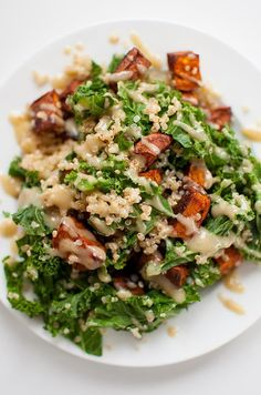 Sweet potato, kale and quinoa salad with tahini dressing is the perfect healthy winter salad with a vegan, creamy tahini salad dressing. | Pinned to Nutrition Stripped | Salad