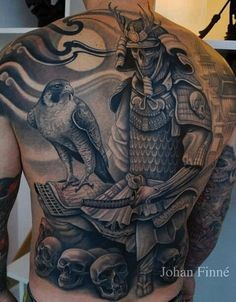 Japanese, Afro and Geisha Samurai Tattoo Designs, Meanings and Ideas. Awesome traditional Samurai tattoos for your sleeve, chest or other body parts. Skull Tattoo Design, Skull Tattoos, New Tattoos, Tattoos For Guys, Sleeve Tattoos, Samurai-krieger Tattoo, Sword Tattoo, Hawk Tattoo, Reaper Tattoo