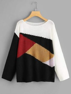 To find out about the Color Block Drop Shoulder Sweater at SHEIN, part of our latest Sweaters ready to shop online today! Cute Dresses, Casual Dresses, Summer Dresses, Party Dresses, Sweater And Shorts, Sweater Fashion, Winter Wardrobe, Sweater Weather, Fashion News