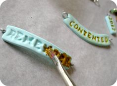 Use Alphabet Noodle Letters for Stamping Clay - now why didn't I think of that!