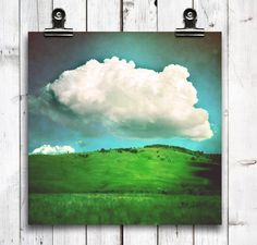 "landscape, large wall art, wall art, cloud photography, modern home decor, green, blue, rustic wall art, sky blue, rustic decor - ""Hover"""