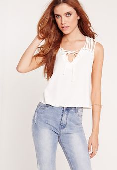 Missguided - Lattice Shoulder Cropped Blouse White