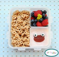 from meet the dubiens blog:    And lastly, another morning bento. She had some plain cheerios, a container of raspberries and blueberries with a frog pick and a container of yogurt with a fruit leather frog (using a bear cutter) and icing eyes. I wrapped the yogurt in tinfoil before packing it in her lunch bag.