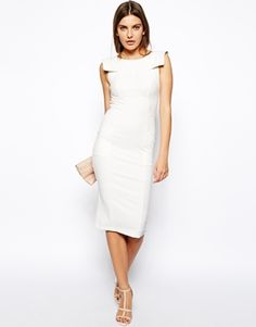Image 4 ofASOS Pencil Dress with Fold Sleeve Detail