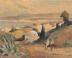 Deux cavaliers sur les hauteurs Tanger von Edouard Edmond Doigneau