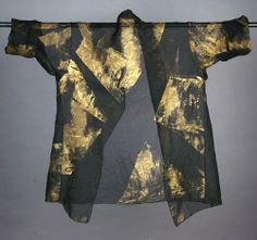 Silk Organza Hand-Painted Shawl Collar Long Jacket. (back) Black with Gold. Available in Black / Silver. Diane Katz Designs
