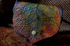 LeAthEr leAf puRsE - one of a kind hand tooled, sewn and painted - handmade