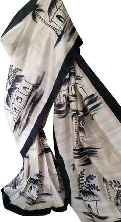 White Hand Painted Bishnupuri Silk Saree With Village Painting - Diy Saree Painting Designs, Fabric Paint Designs, Hand Painted Sarees, Hand Painted Fabric, Dress Painting, Mural Painting, Fabric Painting, Fabric Art, Paintings