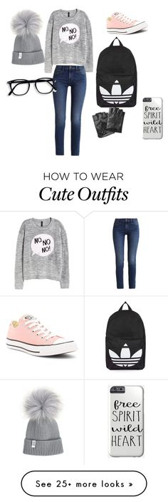 """Cute beanie outfit"" by softballlove7 on Polyvore featuring H&M, Calvin Klein, Converse, Topshop and Karl Lagerfeld"