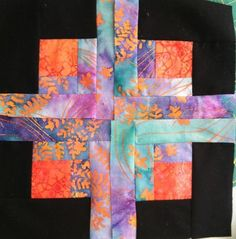 January Off-Set Log Quilt Block. Made from the 2013 Craftsy Block of the Month class!
