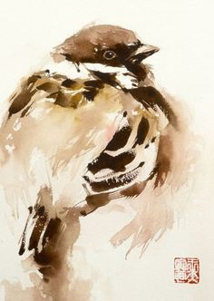 sparrow in warm tone (2015) Watercolor by Tianyin Wang | Artfinder