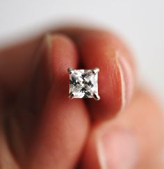 336 Tiny Cubic Zirconia Square Sterling by LustreModernJewelry, $25.00