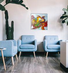 """#colorislife #peinture #painting #art #decoration #interiordesign """"Le nid"""" /'The Nest' (c) Eliora Bousquet [Photo du décor (c) Creators Collective] Bousquet, Love Seat, Couch, Decoration, Painting, Furniture, Home Decor, Nest, Decor"""
