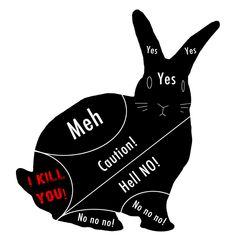 How to pet a bunny. Ours aren't too bad about the tail, but 'I kill you!' and 'Hell no!' for the belly, for sure. Unless they lay on your hand.  That's even better than bunny kisses :)