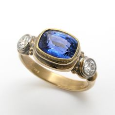Cushion Cut Blue Sapphire Ring with Diamonds, by Caleb Meyer