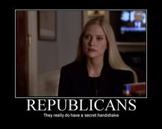 republicans they really do have a secret handshake; ainsley hayes the west wing