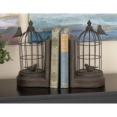 Polystone and Metal Bookends (Set of 2)