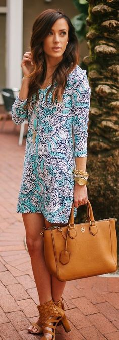 Lilly Pulitzer Juliet Printed Fitted V-Neck T-Shirt Dress shown in Shorely Blue Hippy Hippy Shake.