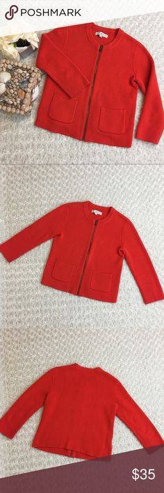LOFT Women's Orange Zip Up Knit Sweater Cardigan Great Condition ✨ Ann Taylor LOFT Sweaters Cardigans