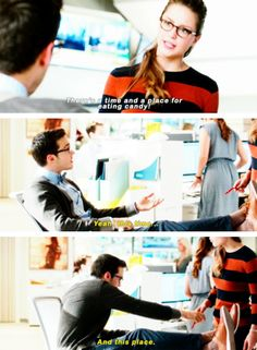 """There's a time and place for eating candy!"" - Kara and Mon-El #Supergirl"