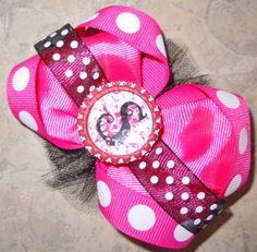 "Custom bottlecap ""S"" hair bow"