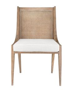 To support its contemporary build, the Jaime Chair is made using old world techniques. Artisans hand weave and tie the caning to its harvested Cape Lilac Mahogany frame. Its wingback silhouette brings artful form to your home. Rattan Dining Chairs, Room Chairs, Side Chairs, Kitchen Chairs, Dining Table, Kitchen Nook, Dining Rooms, Burke Decor, My New Room