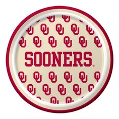 """Creative Converting Oklahoma Sooners Dessert Paper Plates (8 Count) $2.35 Collegiate NCAA team logo dessert paper plates Measures 7"""" diameter 8 count The perfect supplies for your tailgating, Bowl game or sports themed party - show your team spirit and pride See Creative Converting's coordinating line of party favors and dinnerware - inflatable fingers, wrist bands, head bands, pom poms, cheer sticks, cups, plates, napkins, chip trays and dcor"""