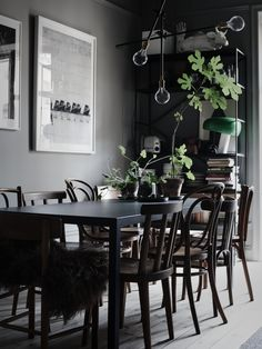 Dining Room Inspiration: 10 Scandinavian Dining Room Ideas You'll Love Decoration Inspiration, Dining Room Inspiration, Interior Design Inspiration, Decor Ideas, Room Ideas, Inspiration Boards, Swedish Interiors, Dark Interiors, Deco Restaurant